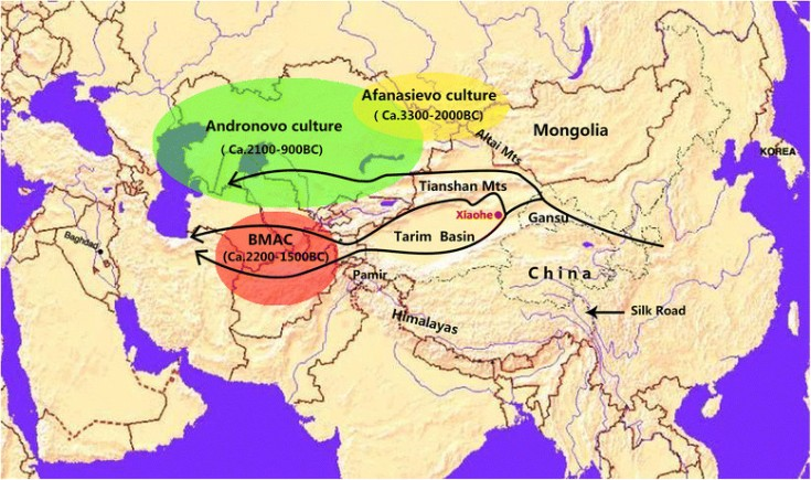 Map-of-Eurasia-showing-the-location-of-the-Xiaohe-cemetery-the-Tarim-Basin-the-ancient