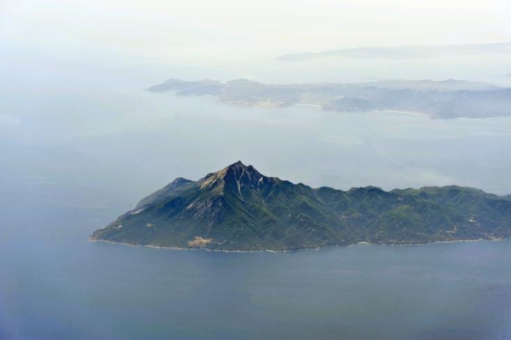 Aerial image of Mount Athos