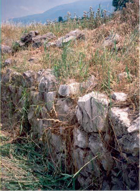 Masonry cover of the Mycenaean hill shaping the inner side of the channel.png