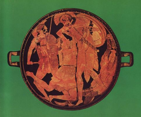 Achilles kills Penthesilea in the tondo of an Attic red-figure kylix, 470–460 BC