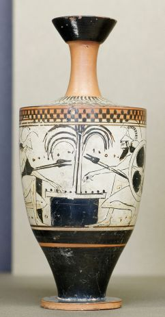 Ajax and Achilles playing a board game (Black-figure Attic lekythos, c. 500 BC).jpg