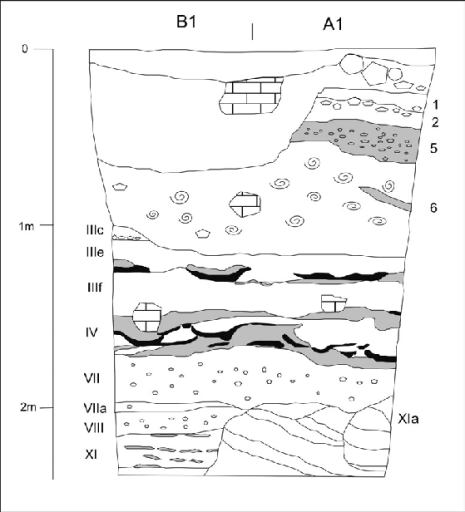 Figure 3. Stratigraphic section of part of the northern wall