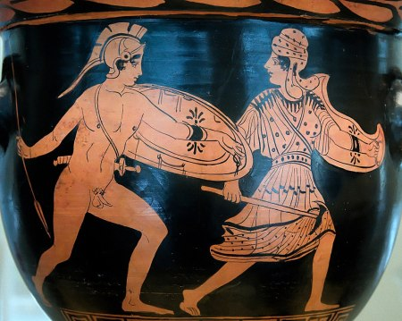 The battle of Achilles and Penthesileia. Lucanian red-figure bell-krater, late 5th century BC.jpg