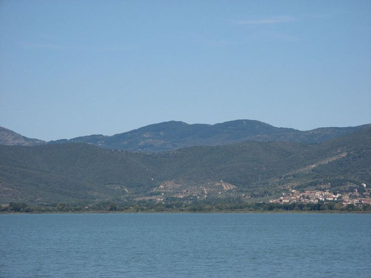 The battleground of the Battle of Lake Trasimene (217 BC), looking north, as seen from the Lake