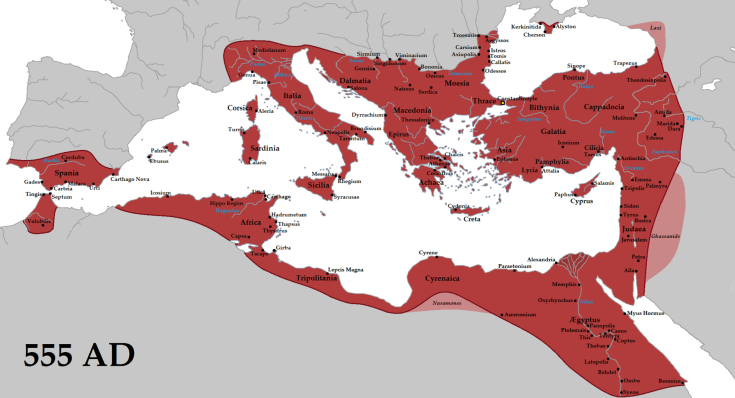 The empire in 555 under Justinian the Great