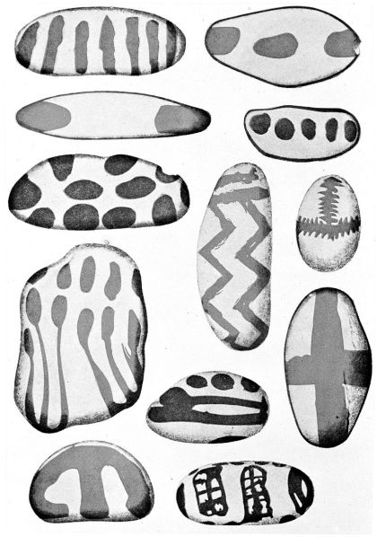 Azilian painted pebbles from the cave of Le Mas d'Azil