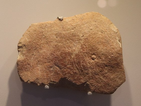 Carving of a horse with traces of ocher painting; 40,000-18,500 BP; from the Hayonim Cave, Aurignacian. Israel Museum (Jerusalem)