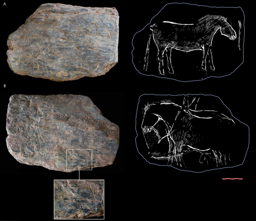 Tablet 741 with bifacial ornamentation side A) complete horse; side B) a special composition of two horses complete horses in axial