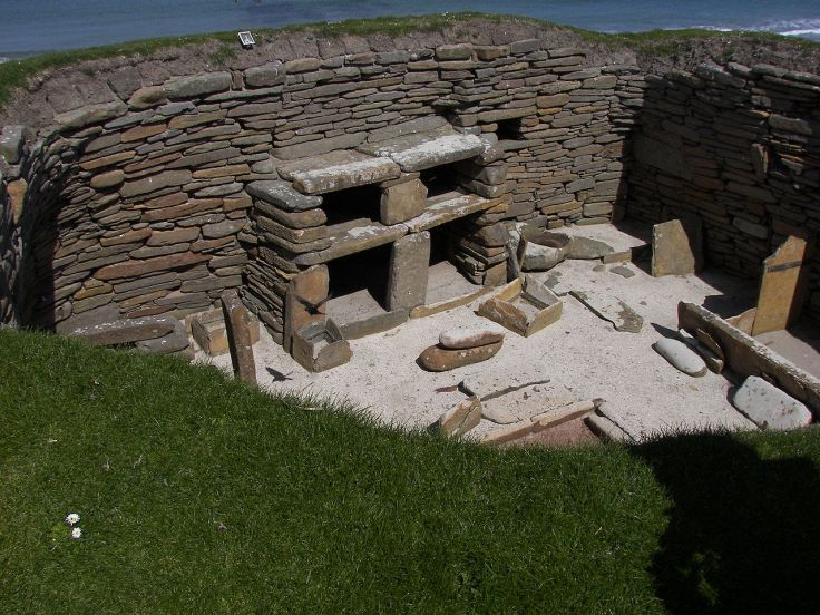 The inside of the Neolithic houses constructed on Skara Brae in Orkney, northern Scotland
