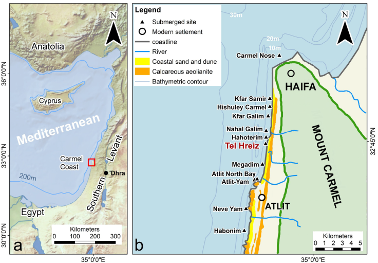 (a) Eastern Mediterranean and the Israeli coast; (b) submerged Neolithic settlements off the Carmel coast
