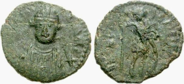 decanummium coin of Baduila (Badvela Rex), issued AD 541–552