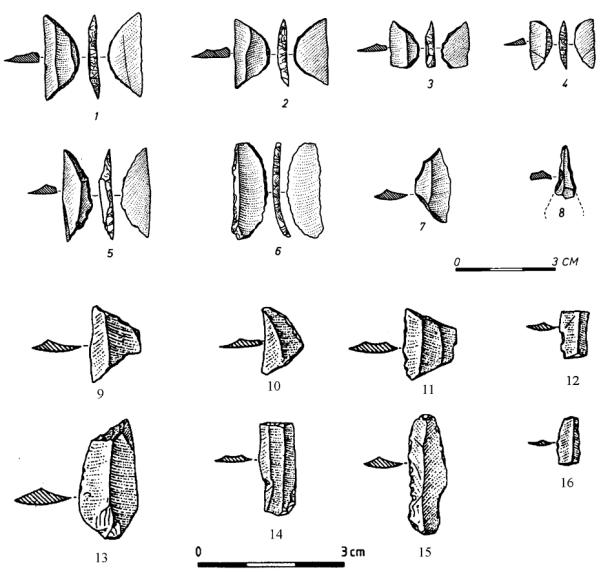 Pl. 1. Flint tools. 1–8 Vlusha I; 9–16 Konispol II.