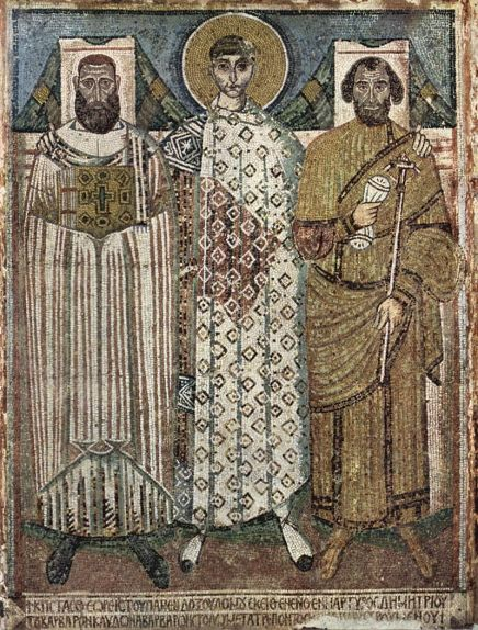 7th-century mosaic from the Cathedral of St. Demetrius in Thessalonica, depicting the saint with the city's archbishop (left) and the eparch (right)